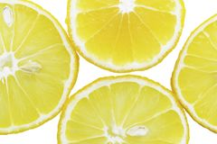 Lemon slices in the water, close-up, top view stock photos