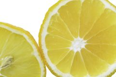 Lemon slices in the water, close-up, top view stock image