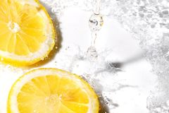 Lemon slices and water splash stock photo