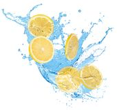 Lemon slices in water splash isolated on a white background stock illustration