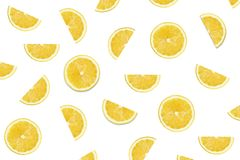 Lemon slices on white backgrounds royalty free stock images