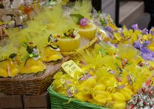 Lemon Soap in Sorrento Market. Baskets of Lemon Soap in Sorrento Market royalty free stock photography