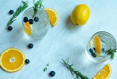 Lemon Soda Cocktail. With white background Royalty Free Stock Photo