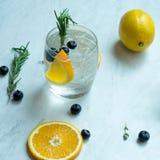 Lemon Soda Cocktail. On white marble background Royalty Free Stock Photo