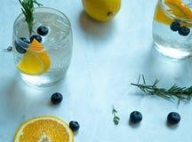 Lemon Soda Cocktail. On white marble background Royalty Free Stock Photos