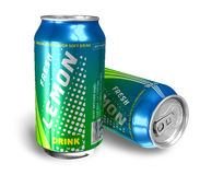 Lemon soda drinks in metal cans Stock Photography