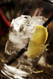 Lemon soda in the glass with ice royalty free stock image