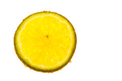 Lemon soda. Isolated a piece of lemon in soda water Royalty Free Stock Images