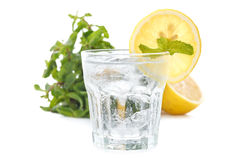 Lemon soda mint fresh drink summer refreshment still life isolated Royalty Free Stock Photos