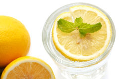 Lemon soda mint fresh drink summer refreshment still life isolated Stock Photography