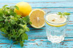 Lemon soda mint fresh drink summer  still life blue background Royalty Free Stock Photography