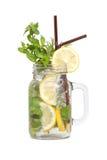 Lemon soda mint rosemary fresh drink summer isolated Royalty Free Stock Photography