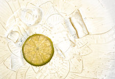 Lemon soda. Water and ice in a glass dish Stock Photography