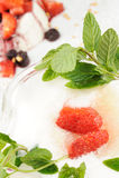 Lemon sorbet. Lemon ice sorbet with straberry and mint Stock Image