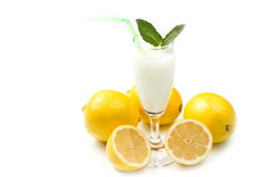 Lemon sorbet. On white background Royalty Free Stock Photography