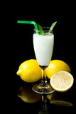Lemon sorbet. On black background Royalty Free Stock Photos