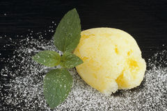 Lemon sorbet. On black background Stock Images