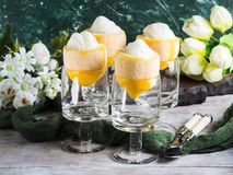 Lemon sorbet ice cream served dessert. Lemon sorbet ice cream served as gourmet dessert stock images