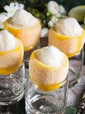 Lemon sorbet ice cream served dessert. Lemon sorbet ice cream served as gourmet dessert royalty free stock photos