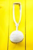 Lemon sorbet icecream in metal scoop Stock Images