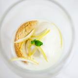 Lemon sorbetto. Lemon sorbet with amaretti biscuit and lemon zest Stock Photos