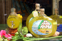 Lemon Souvenirs Positano Italy. Lemon and Lemoncello souvenirs of the Amalfi Coast Royalty Free Stock Photography
