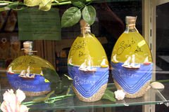 Lemon Souvenirs Positano Italy. Lemon and Lemoncello souvenirs of the Amalfi Coast Stock Photos