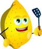 Lemon with a spatula Stock Photography