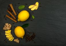 Lemon Spice Tea Ingredients Royalty Free Stock Photo