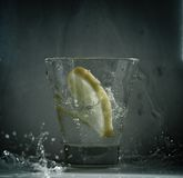 Lemon splash grey Stock Image