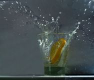 Lemon splash high drops Royalty Free Stock Images