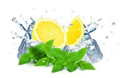 Lemon splash and ice Stock Images
