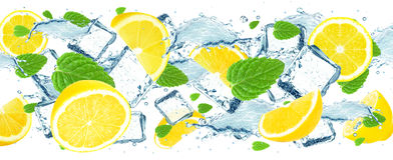 Lemon splash water Stock Photos