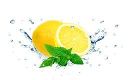 Lemon splash water Royalty Free Stock Images