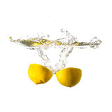 Lemon splash on water, isolated Stock Photography