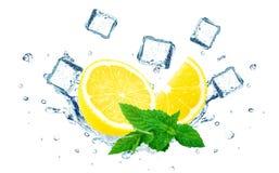Lemon splashing water Stock Image