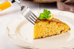 Lemon Sponge Cake on white wooden table Stock Photo