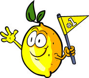 Lemon sports fan with flag Royalty Free Stock Photo