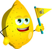 Lemon sports fan with flag Royalty Free Stock Photography