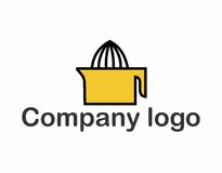 Lemon squeezer logo. A simple logo that depicts a lemon squeezer in yellow, white and black. Very customizable, can be used for a lemonade making business Stock Photography