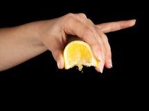 Lemon squeezing royalty free stock photos