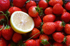 Lemon and strawberry. Red strawberry and lemon together Stock Photo