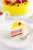 Lemon-strawberry cake mousse. Stock Photos