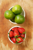 Lemon and strawberry collection. Fresh lemon and strawberry, fruits ingredients in the kitchen Royalty Free Stock Photography