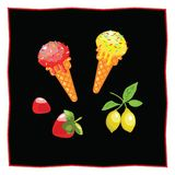 Lemon and strawberry ice cream. Dessert on a black background for the menu of the restaurant and cafe. Strawberry and lemon on a b. Ranch.Icon of food on a white Stock Image