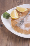 Lemon and Sugar  and mint pancakes Stock Image