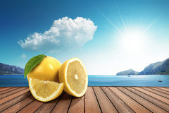 Lemon in the sun. Lemon on the harbor under the sun Royalty Free Stock Photography