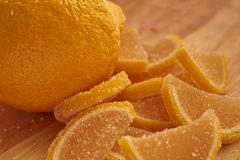 Lemon and sweet lemon jelly slices. One lemon and sweet lemon jelly slices Stock Image