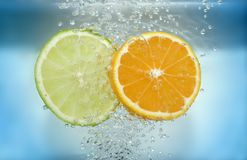 Lemon and tangarine slices Stock Photography