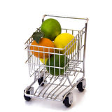 Lemon, tangerine and lime in shopping cart. Isolated lemon, tangerine and lime Stock Photography
